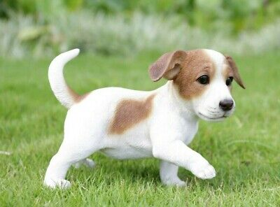 Jack Russell Terrier Puppy Playing - Life Like Figurine Statue Home / Garden NEW