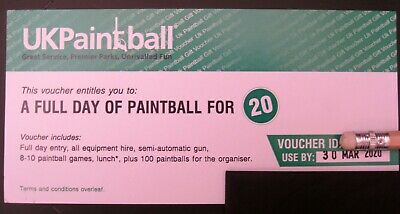 Full day paintball 20 players UKPaintball voucher use by March 2020