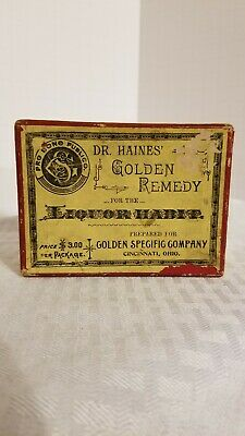 Vintage Dr. Haines Golden Remedy Liquor Habit Quack Medicine Box 1906 Cincinnati