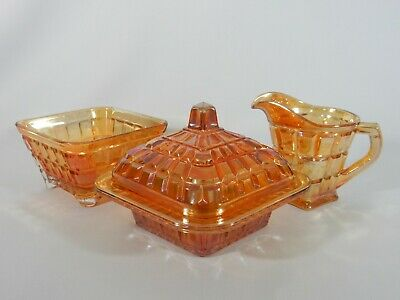 Vintage 3pc Marigold Carnival Glass Quarter Block Table Set Jug Bowl Butter Dish