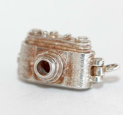 Opening Camera With Bird Sterling Silver Vintage Bracelet Charm With Gift  3.4g