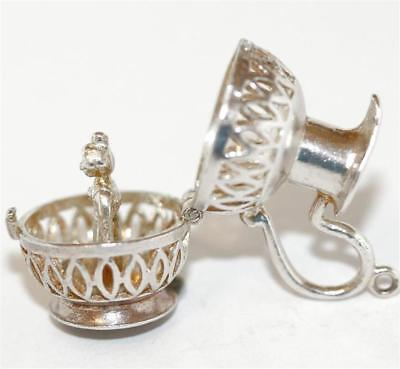 Pitcher Opening To Water Maiden Sterling Silver Vintage Bracelet Charm, Sz Large