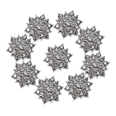 10Pcs Rhinestone Jewelry Buttons Crystal Flower DIY Accessory Sewing DecoratioEO