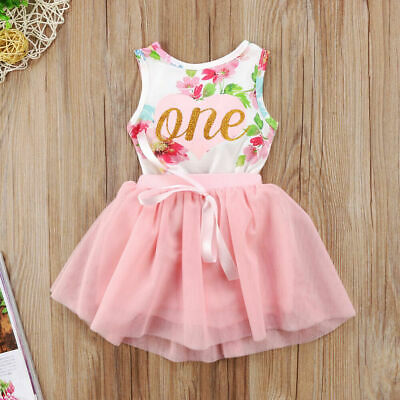 AU STOCK Toddler Baby Girl 1st Birthday Cake Smash Outfits Romper Tutu Skirt Set