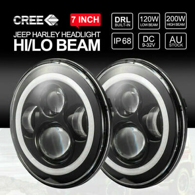 "7""Inch Round LED Headlights Hi-Lo Halo Angel Eyes Turn Light for GQ PATROL 2Pcs"