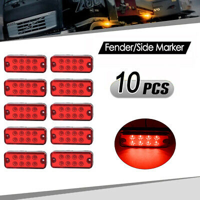 2X 8-LED Clearance Red Side Marker Tail Light Lamp For Trailer Truck 12V-24V AU