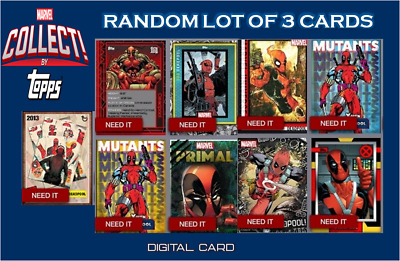 2019 DEADPOOL TAKEOVER RANDOM LOT OF 3 CARDS Topps Marvel Collect Digital Card
