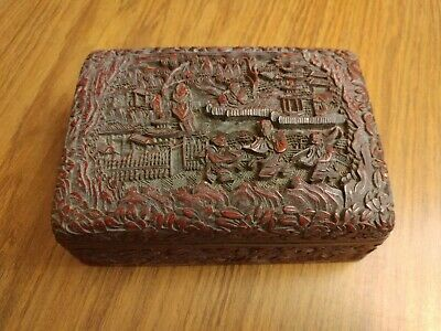 Antique Finely Carved Large Chinese Cinnabar Box