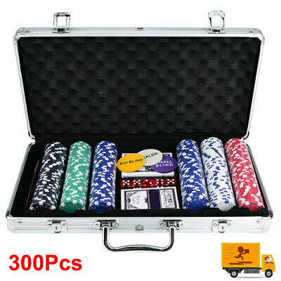 Set Of Poker Chip 300 Chips Cards Aluminum Case Gamble Table Game