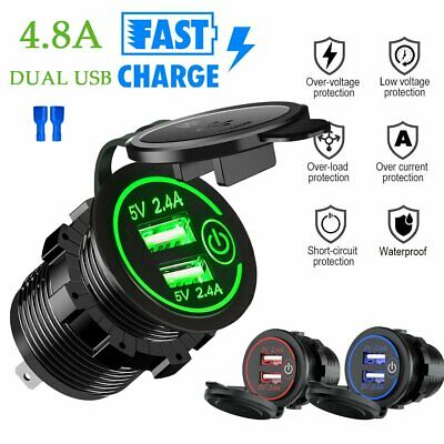 4.8A Car Cigarette Lighter Socket Splitter Dual USB Charger Adapter Touch Switch