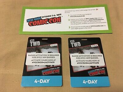 NYCC 2019 New York Comic Con 4 Day Pass Javits Center NYC Badge 2 Ticket IN HAND