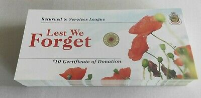 10 x 2012 RED POPPY RSL CARD CERTIFICATE - CARD ONLY  - NO COINS - BULK LOT