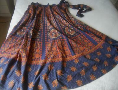 True Vintage 70'S Indian Cotton Block Print Sun Moon Face Hippy Wrap Long Skirt