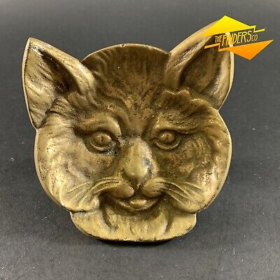 SUPERB ANTIQUE c.1920's SOLID BRONZE FIGURAL RELIEF CAT COIN TIP DISH ASH TRAY