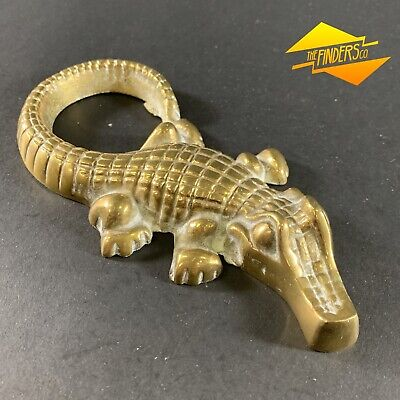 Sensational Vintage Heavy Cast Brass Crocodile Alligator Sculpture