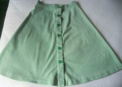 Vintage 70'S Green White Diagonal Stripe Button Thru Crimplene Skirt 76 Cm Waist