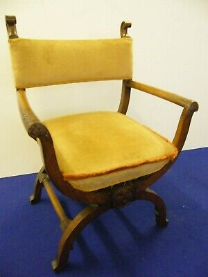 Stylish X frame armchair nicely carved plush upholstery antique style old design
