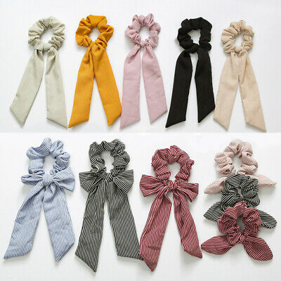 Accessories Scrunchies Rope Scarf Bow Solid Elastic Hair Ties Band Holder Women