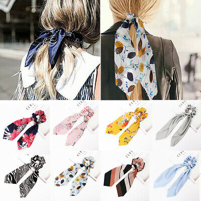 Elastic Scrunchie Scarf Hair Band Bow Accessories Ties Rope Solid Floral Holder