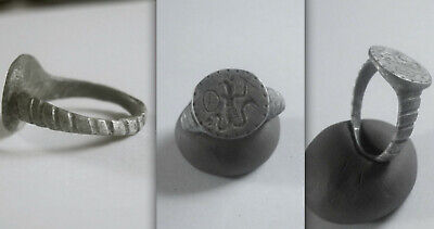 Late Byzantine/early Medieval Gnostic Amulet Silverring with cock-headed Abraxax