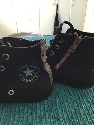 Kids Size 13 Converse All Star Chuck Taylor Shoes Hi Tops Black Gold With Zipper