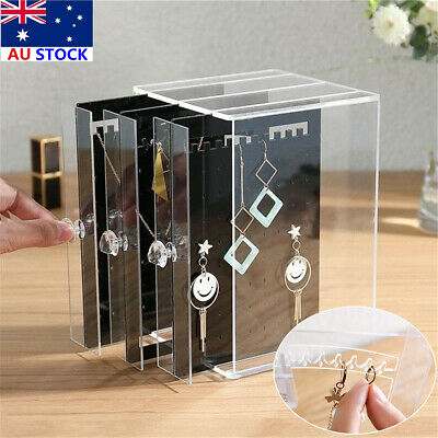 Acrylic Jewelry Display Rack Clear Earrings Ring Necklace Stand Organizer Holder
