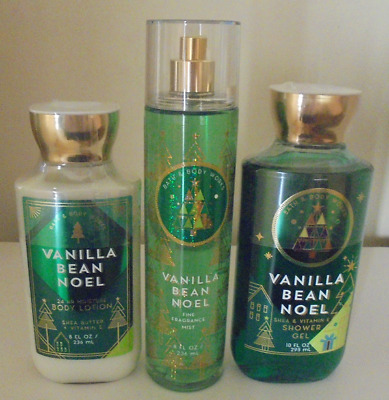 Bath & Body Works Vanilla Bean Noel Body Care Set Full Size ~ Awesome Scent!