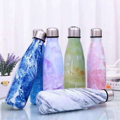 500ml Stainless Steel Water Bottle Outdoor Sports Thermos Cup Portable Marble
