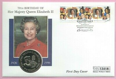 MERCURY1996 FDC - GUERNSEY  £5 COIN COVER #13418 - THE QUEEN'S 70th BIRTHDAY shs