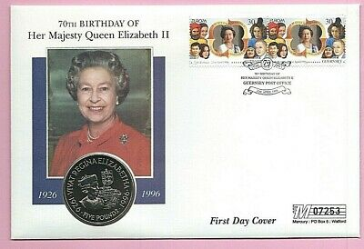 MERCURY1996 FDC - GUERNSEY  £5 COIN COVER #7253 - THE QUEEN'S 70th BIRTHDAY shs