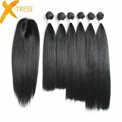 Synthetic Hair Weaves Natural Black Straight 6 Bundles With Lace Closure XTRESS