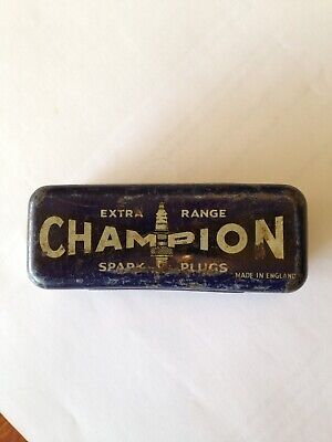 Champion Extra Range Spark Plug Tin Vintage Collectible Made In England