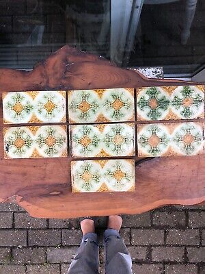 Set Of 7 Original Victorian Fireplace Border Edge  Tiles  in Green Cream Mustard