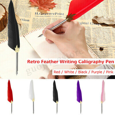 Feather Dip Fountain Pen Calligraphy Writing Quill Oblique Pens Stationery Gift