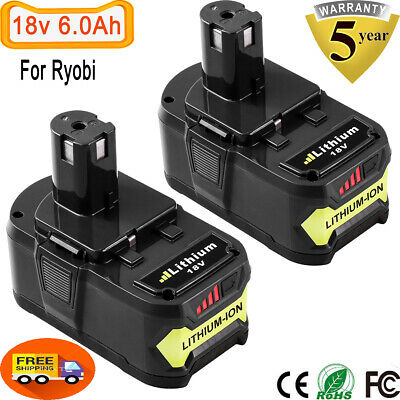 2X18V 6.0Ah Replace For Ryobi Lithium Battery ONE+ Plus P102 P107 P108 P103 P122