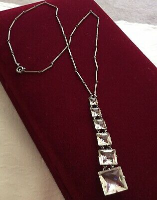 Vintage Art Deco Czech Long Centre Drop Open Back Bezel Set Necklace c1930's