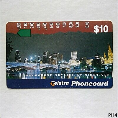 Telstra Cityscapes Melbourne Skyline At Night N955723a 1056 $10 Phonecard (PH4)