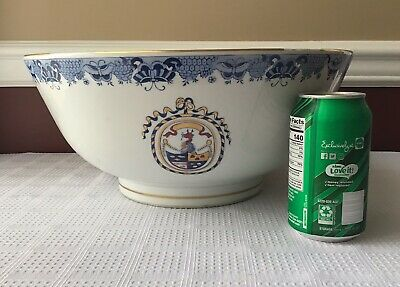 Antique Chinese Export Armorial Porcelain Punch Bowl, 14 Inches, Not Marked