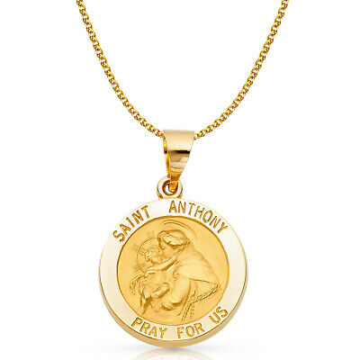 14K Yellow Gold St. Anthony Charm Pendant & 1.7mm Flat Open Wheat Chain Necklace