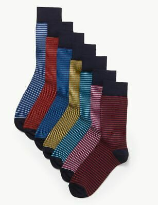 M & S Marks Spencer Mens Multipack 7 Pairs Cotton Rich Socks Navy Blue Striped
