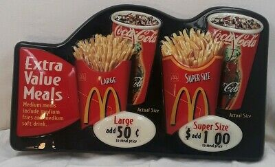 "McDonald's Extra Value Meal Sign 2'×14"" 2002 embossed actual size images"
