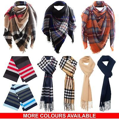 Mens Womens Unisex Scarf Warm Winter Soft Striped Tartan Ladies Neck Shawl Wrap