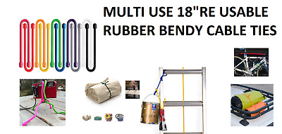 """18"""" Silicone Rubber Rope Multi Use Straps Gear Cable Twist Tie UK"""