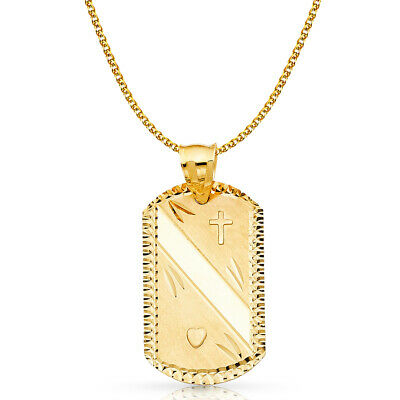14K Yellow Gold Stamp Charm Pendant with 2mm Flat Open Wheat Chain Necklace