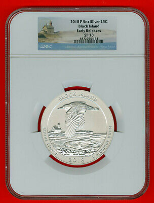 2018 P-ATB BLOCK ISLAND 5oz SILVER 25C, NGC-SP-70, EARLY RELEASES with/OGP+COA