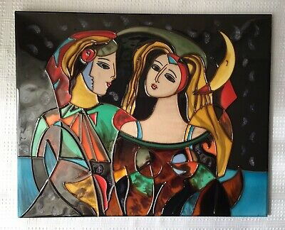 Picasso (Style?) Stained Glass Tile, 16 x 13 inches