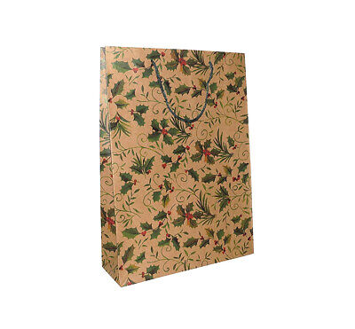 Pack of 12 Large Holly Design Christmas Gift Bags Xmas Wrapping Paper Packaging