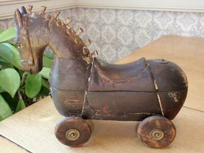 Folk Art Carved Wooden Horse on Wheels Locking Storage Compartment.