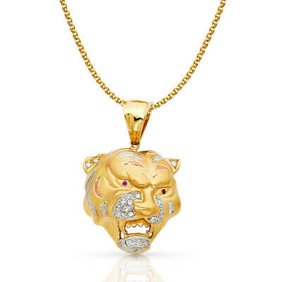 14K Yellow Gold CZ Tiger Charm Pendant & 2mm Flat Open Wheat Chain Necklace