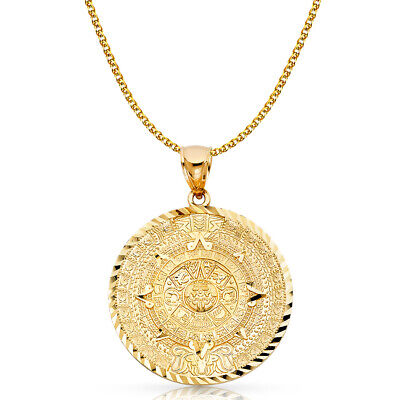 14K Yellow Gold Azteca Sun Stone Pendant & 2mm Flat Open Wheat Chain Necklace